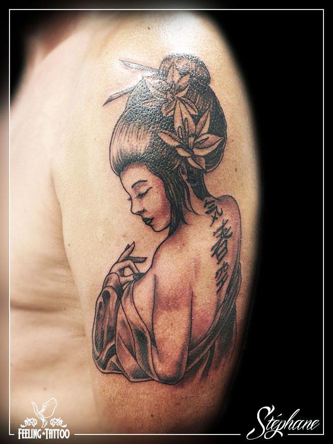 Tatouage - Geisha epaule Geisha
